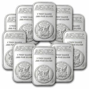 1 oz Silver Bar - APMEX (Lot of 10 Bars) .999 Fine Silver