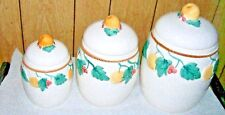 Country Apple Canister Set Of 3 Ceramic Country Kitchen Decor