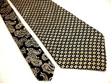 TOMMY HILFIGGER Woven Geometric Check W/ Paisley Tail 100% Silk Tie USA EXCELENT