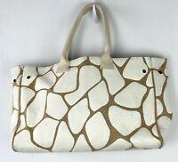 Nordstrom Tote Purse Burlap Strongroom Brown White Giraffe Print Shopper Bag