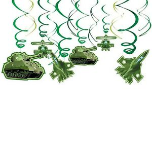 Camouflage Party Swirl Hanging Decorations 12pk - Camouflage Party Supplies