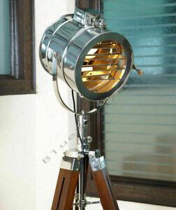 HANDMADE DESIGNER NAUTICAL MARINE SIGNAL SEARCH LIGHT NAUTICAL TRIPOD FLOOR LAMP