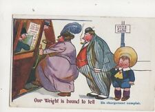 Our Weight Is Bound To Tell Vintage Comic Postcard 379b