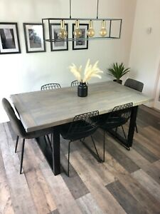 Reclaimed Wood Dining Table and Bench. Industrial Metal square Legs The Naseby
