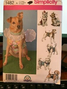 1482 Simplicity Carla Reiss Dog Clothes Sewing Pattern UnCut S-L