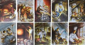 POULET Raymond : Les métiers anciens (6) - 10 LITHOGRAPHIES signées #450ex