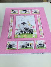Susybee, Pink Lambs, Panel 89cm x 110cm, 100% Cotton, Nursery, Baby