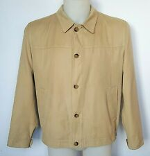 Oder-mark Mens Jacket Large Sand Soft Twill Button Harrington Coat Lined Vented