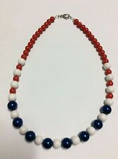 SALE Beaded necklace dark blue pearl imitation beads red and white acrylic