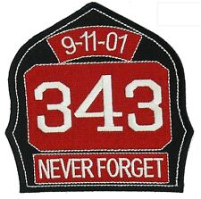 911 Commemorative Shield Patch 343 Never Forget BIG Patch Easy Iron on