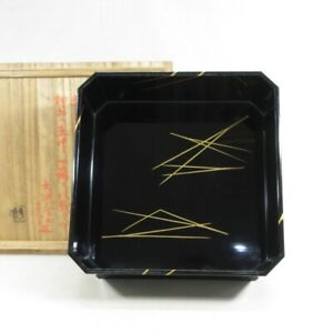 D1840: Japanese square bowl KASHIKI of old lacquer ware with pine needle MAKIE