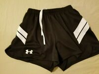 Womens Under Armour Shorts S Small Black Athletic Gym Workout Running