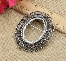 Antique silver  oval  vintage cabochon  cameo brooch  setting  fits 30x40mm