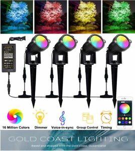 Smart Garden Light Kit RGB Bluetooth (4-PACK 12W Per Light) 48W Black Waterproof