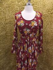 Cool Vtg 1960s 70s Floral Dotted Prairie Maxi Dress Sz M Hippy Boho Gypsy Casual