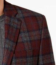 Lauren Ralph Lauren Blazer Size 48R Men Wool Suit Jacket Burgundy Gray Tartan