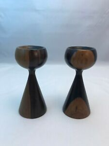 Pair Of Danish Modern Teak Candlesticks