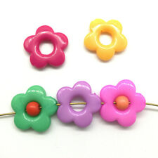 Lot 30pcs Flower Ring Acrylic Charms Loose Beads Kid Jewelry DIY Accs Mix Color