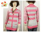 Uniqulism Gray Pink Button-Down Pocket Stripes Knitted Sweater Cardigan S M L XL