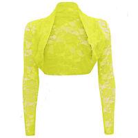 Womens Long Sleeve New Lace Detail Ladies Bolero Cropped Shrug Top Cardigan 8-26