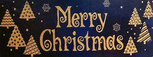 Merry Christmas Gold Xmas Tree Window Cling Sticker Vintage Christmas Decoration