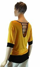 Ladies Yellow Day Evening Cocktail Pullover Short Sleeve Party Evening Work Top