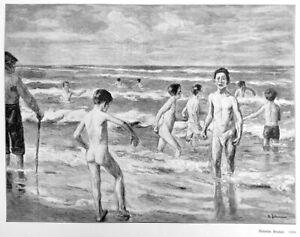 Badende Knaben, Original-Holzstich nach Max Liebermann von 1899