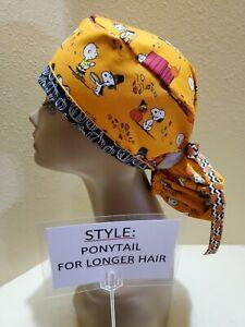 Charlie Brown Thanksgiving Women's Ponytail Surgical Scrub Hat/Cap Handmade
