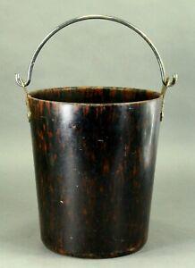 = Antique c.1900 Bakelite & Chrome Bucket Pail w Faux Tortoise Shell Texture