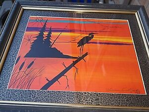 Listed Native Artist NORMAN KNOTT Curve Lake Acrylic on Board Painting of Crane