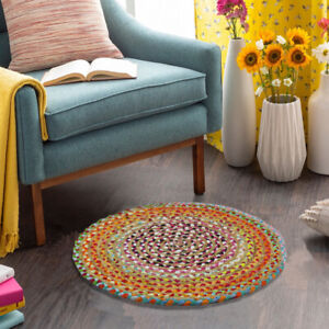 Area Rugs for Living Room Indoor Outdoor Modern Rug Jute Chindi Round Carpet 2x2