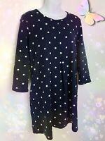 JOULES tunic dress 16 navy blue white polka dot 'Edith' stretch pockets x 2