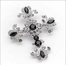 Rhodium Plated Gothic Style Cross Brooch with Black Crystal Clear Cubic Zirconia