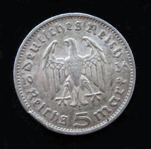 1936 G 5 Reichsmark Germany SILVER