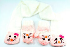CHIC & CUTE CREAM/PINK SCARF-GLOVES SET KITTY MOTIF PERFECT GIFT 4 GIRLS (MS8)