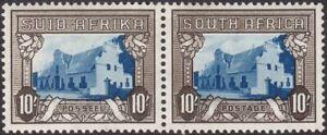 South Africa 1939 KGVI Groot Constantia 10sh Blue + Sepia Pair Mint SG64c c£65