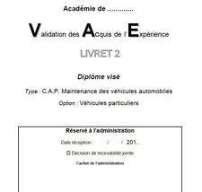VAE - Livret 2 - CAP Maintenance des véhicules automobiles - Bien lire l'annonce