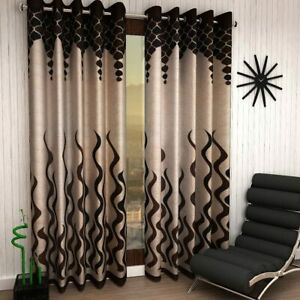 2 Piece Brown Eyelet Ringtop Door Curtains Set 7 Feet