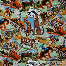 BonEful FABRIC FQ Cotton Quilt Cow*boy Horse Coffee Western Scenic Longhorn