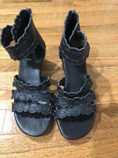 ELF Bali Native Hand Made Black Seaside Leather Sandals Shoes 7 Bohemian