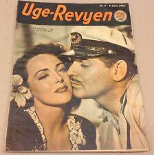 "Clark Gable Front Cover On Original Vintage Danish Magazine 1947 ""Uge-Revyen"""