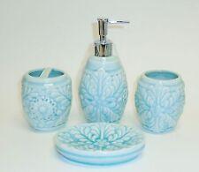 Nuevo 4 Piezas Azul Turquesa de Cerámica,3d Flor Dispensador Jabón + Vaso + Dish