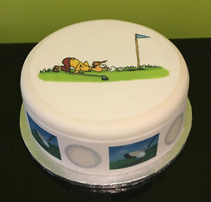 Golf 02 pre-cut Edible Icing Cake Topper or Ribbon