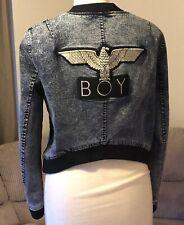BOY London Tokyo  Women's Denim Bomber Jacket With Golden Eagle,S,acid wash