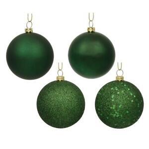 "3"" Emerald Green 4-Finish Ornament Assortment Pack of 32"