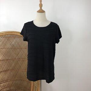 Simply Vera Wang Short Sleeve Black T Shirt Top Size 12 M Corporate Career Work
