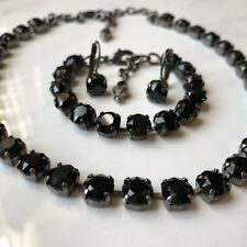 Made w/Swarovski 8mm crystals Jet Black In antique silver Setting New