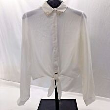 FOREVER 21 Ivory Sheer Button Up Long Sleeve Blouse w/ Gold Detailing Size M