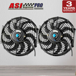 Pair 12INCH PULL PUSH RADIATOR Electirc Thermo Curved Blade FAN+MOUNTING KIT