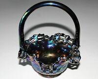 Fenton Carnival Glass Iridescent Handled Glass Basket